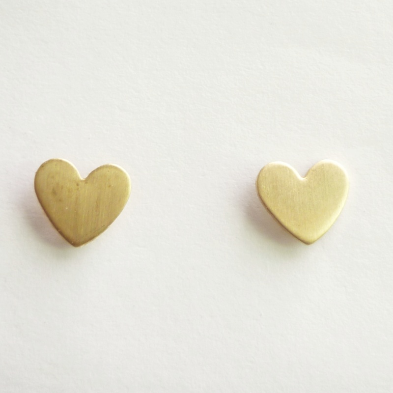 Pretty Tiny Gold Heart Stud Earrings Bridesmaid Gift Minimal Jewelry Under 10