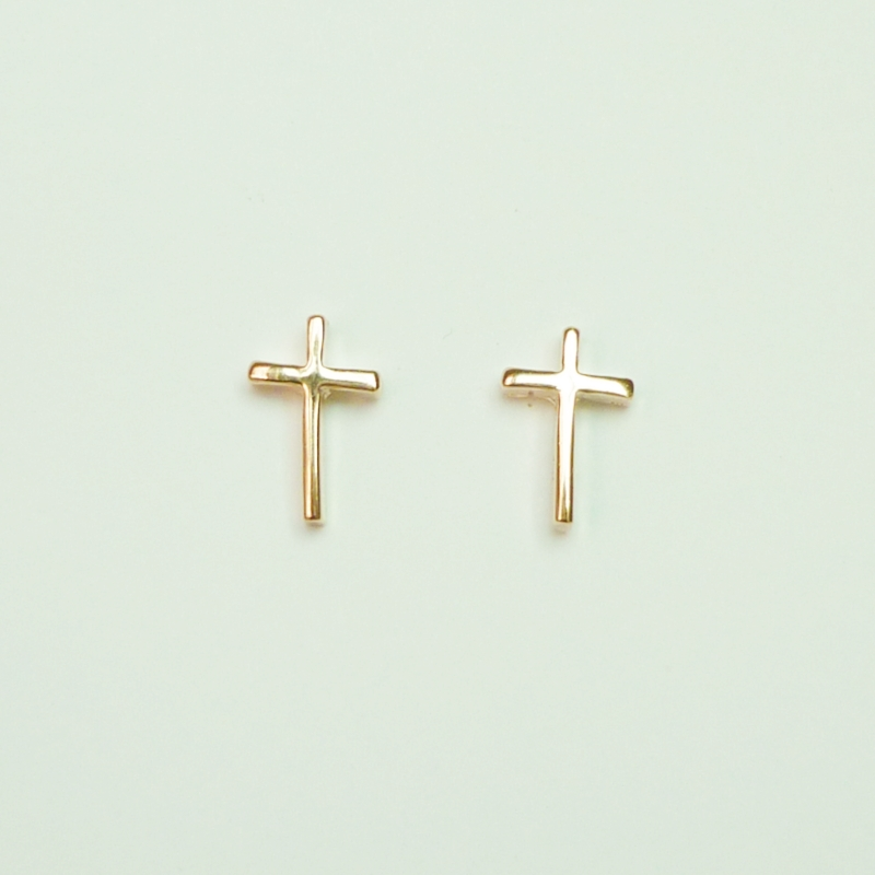 The Cross Light Rose Solid Gold Pink Plated Earring Stud Earrings