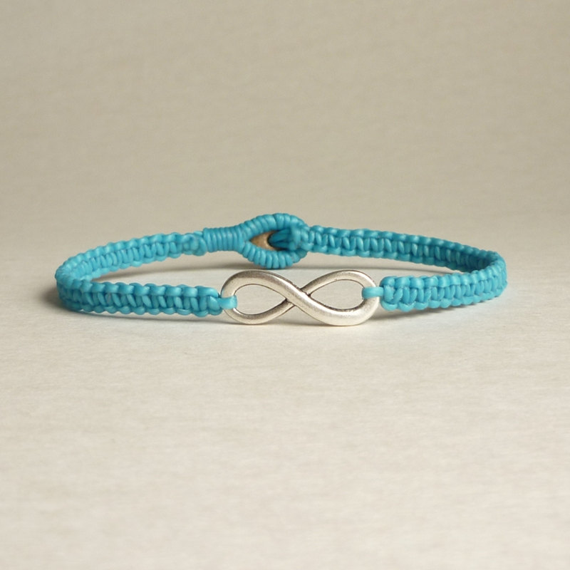 Blue Infinity Simple Single Silver Infinity Signeight Woven With