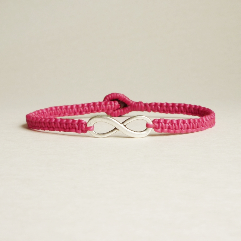 Pink Infinity - Simple Single Silver Infinity Sign/Eight woven with Pink Wax Cord Bracelet / Wristband - Customized Bracelet