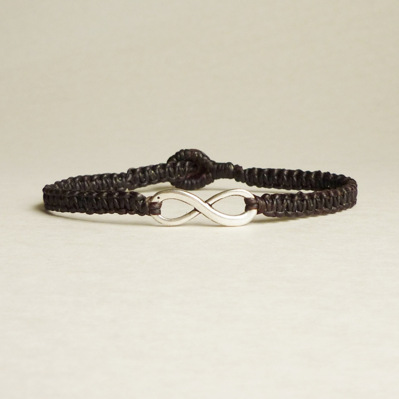 Black Infinity - Simple Single Silver Infinity Sign/Eight woven with Tan Wax Cord Bracelet / Wristband - Men Jewelry - Unisex