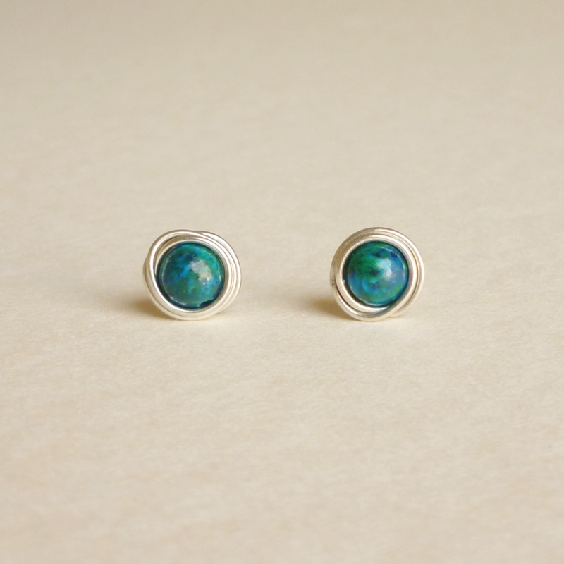 Tender Earrings Malachite Azurite Stone Wrap Stud Gift Under 10 Blue And Green