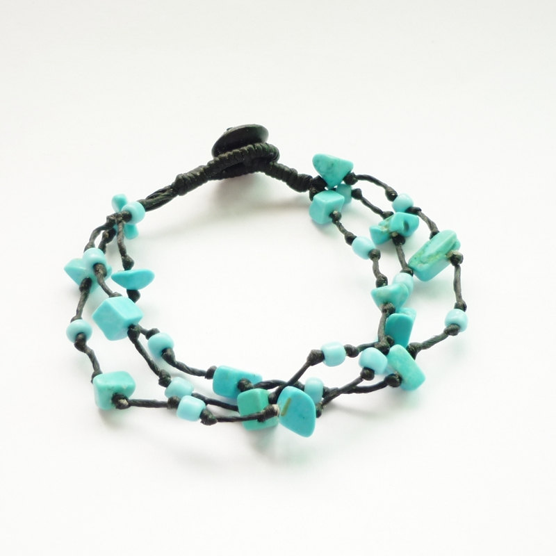 Triple Strands Of Turquoise Blue Chip Beads And Seed With Wax Cord Bracelet Gift Under 10