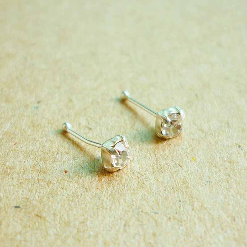 3 mm Small Clear CZ Nose Stud/Nose Earring - Nose Jewelry - Nose Piercing - 925 Sterling Silver Earrings - Gift under 10
