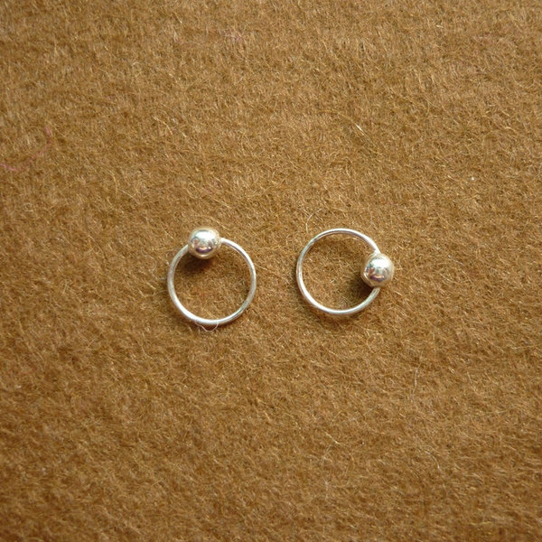8 Mm Tiny Silver Hoop Earrings With Ball Captive Bead Rings