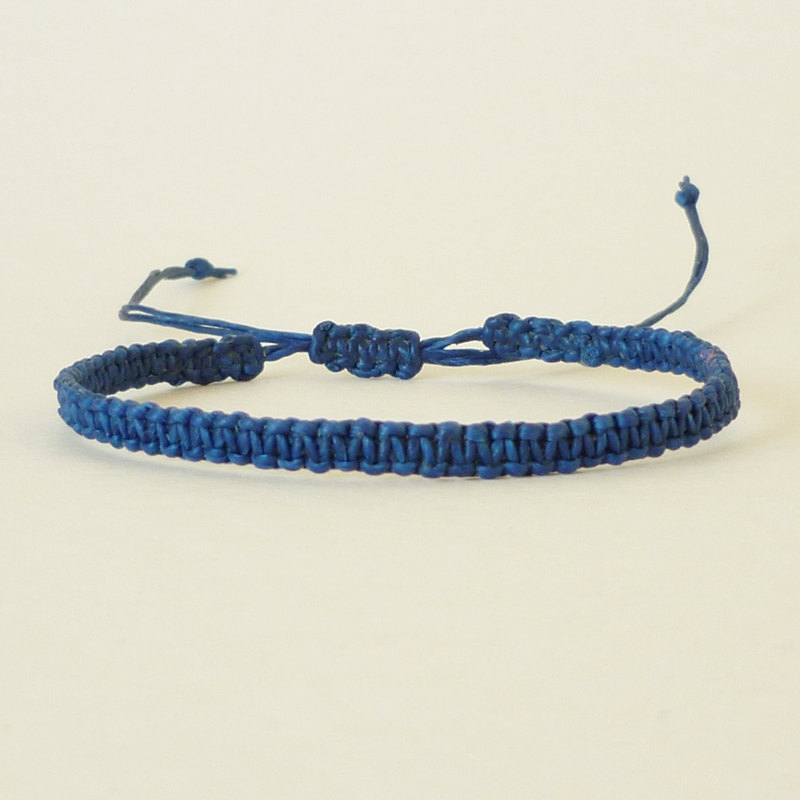 Simple Single Line Navy Blue Friendship Bracelet / Wristband - Gift under 5 - Adjustable Bracelet