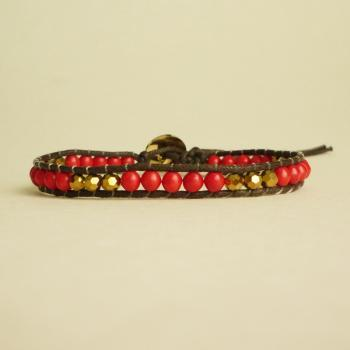 Red and Gold Single Wrap Bracelet - Gift under 15