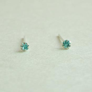 SALE - 2 mm Very Tiny Aquamarine Blue CZ Cartilage Ear Studs- 925 Sterling Silver Earrings - Cartilage Earring - gift under 10
