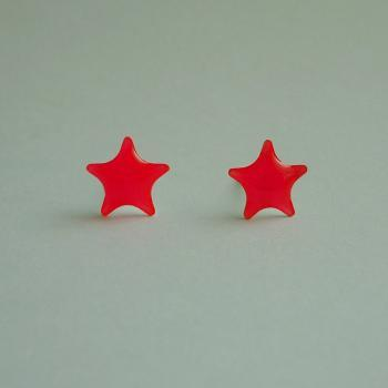 SALE - Bright Neon Pink Star Stud Earrings - 8 mm - Gift under 10