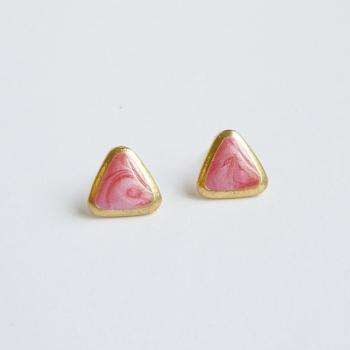 SALE - Pearl Red Triangle Stud Earrings - Gift under 10