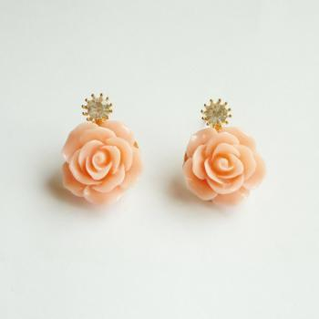 SALE - Large Peach Rose Earrings - Gift under 15