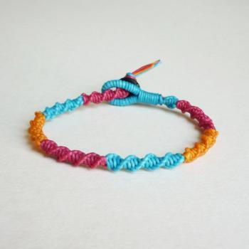 Spiral Macrame Friendship Bracelet in mix of Magenta Pink,Orange,Blue - Gift for Her - Gift under 10