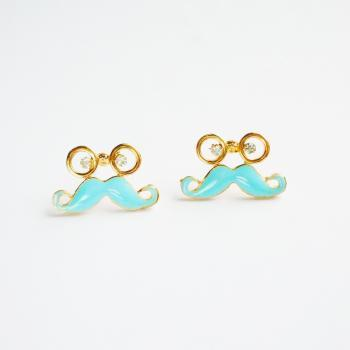 Glasses and Blue Mustache Stud Earrings - Gift for Her - Gift under 10
