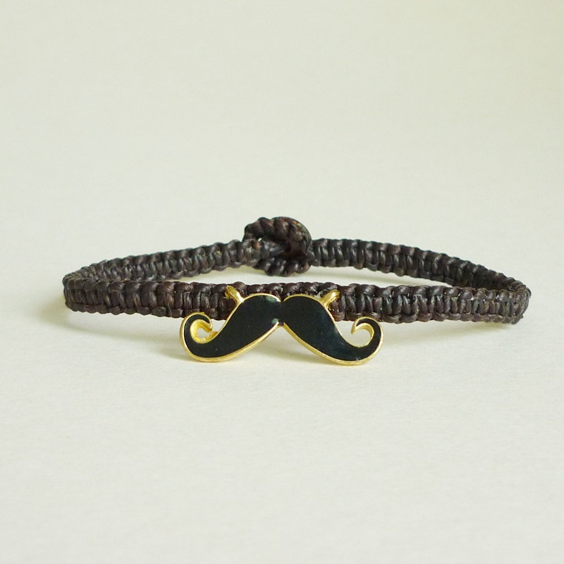 Mustache Bracelet Black Wax Cord Gift Under 15 For Him Uni Jewelry
